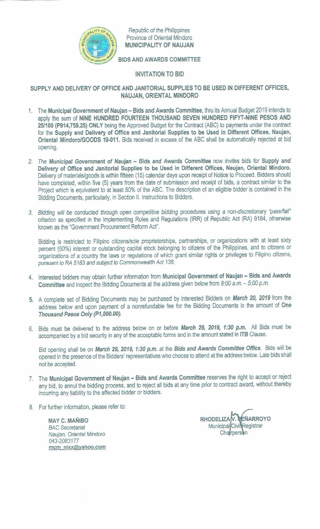Bids and Awards Committee | Municipality of Naujan